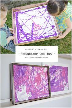 2 kids + paper + balls + 2 frames = friendship craft for kids