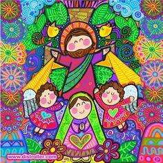 Que JESUSITO y María nos cuiden de noche y de día Vintage Illustration Art, Coat Of Many Colors, Retreat Gifts, Holy Mary, Soul Art, Arte Popular, Catholic Saints, Mexican Folk Art, Sacred Art