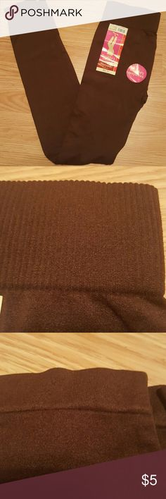 Brown Leggings New, seamless leggings in dark brown. Has a 2 inch waistband(pic 2) and small hem at ankle (pic 3). NWT Faded Glory Pants Leggings
