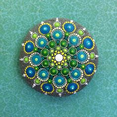 Jewel Drop Mandala Painted Stone ocean dreaming от ElspethMcLean