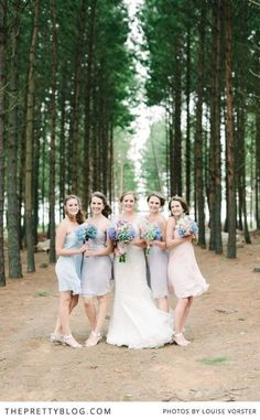 How lovely are these pastel dresses for bridesmaids? | Photographer: Louise Vorster Photography, Venue: Florence Farm