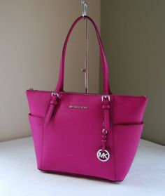 Michael Kors Jet Set Saffiano Leather Top Zip Tote Fuchsia Pink