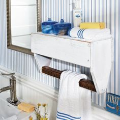 From Simple Tool Box Tote to Bathroom Shelf and Towel Bar