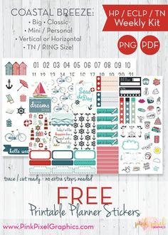 FREE Coastal Breeze free weekly sticker printable kit: Download your free planner print and cut. Lots of sizes to fit just about any planner. See more at www.pinkpixelgraphics.com