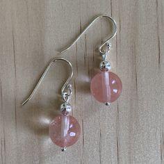 Sterling Silver Cherry Quartz Earrings