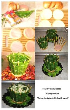 Step by step of preparation ''Onion baskets stuffed with salad''. Vegetable Decoration, Food Decoration, Tapas, Guacamole Deviled Eggs, Extra Recipe, Apple Decorations, Food Carving, Edible Crafts, Veggie Tray