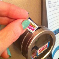 Magnetic spice jar for Box Top saver. The big slot is perfect for the box tops, convenient right on fridge... love this!