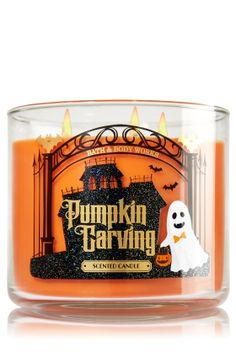 "Pumpkin Carving 3 Wick Candle - Bath & Body Works: ""I'm excited to get this one. I didn't get a chance to check out pumpkin carving the last time it was. Plus it would look adorable with their haunted house luminary for 2015"""