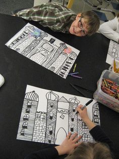 grade artists are studying the art career of architecture. We heard the story of Neuschwanstein castle in Germany and how it was designe. Art Education Projects, Art Education Lessons, Art Lessons Elementary, Education Quotes, Art Projects, School Projects, 3rd Grade Art Lesson, Third Grade Art, Second Grade