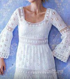 Ажурное платье с рукавом клеш схема спицами » Люблю Вязать