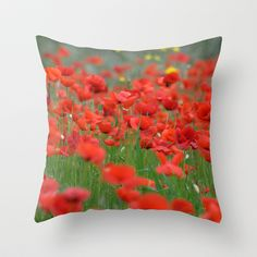 Poppy field 1820 Throw Pillow by metamorphosa - $20.00