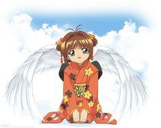 Angel in a kimono Sakura Kinomoto, Doi Song, Widescreen Wallpaper, Wallpapers, Magic Cards, The Guardian, Beast, Kimono, Wings