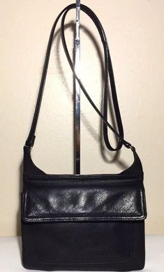 Vtg Fossil Black Leather Crossbody Bag Organizer Messenger Handbag Retired c2aabaca07009