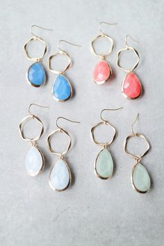 """Add a drop of color with these faceted bead earrings! Details: - 2"""" drop - Gold plated"""
