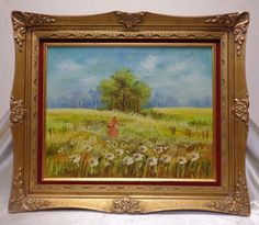 Villano Estate Found Vintage Lady in Flower Field Oil Painting on Canvas >Framed #Impressionism
