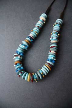 Glass Necklace Discs Turquoise Color by LikeAGlassShop on Etsy