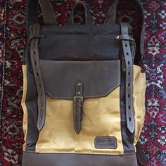 The rucksack is made of waterproof waxed canvas and natural full grain crazy horse leather. Waxed Canvas Bag, Canvas Messenger Bag, Messenger Bag Men, Canvas Backpack, Canvas Leather, Laptop Backpack, Travel Backpack, Leather Crossbody Bag, Leather Backpack