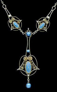 MARIUS HAMMER Skonvirke Necklace  Gilded silver Enamel Norwegian, c.1900
