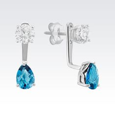 Transform your look with these stunning blue topaz earring jackets. #ShaneCo #ShaneCoChic