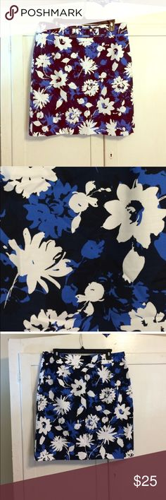Classic Navy Floral Print Pencil Skirt Navy, white, black, and blue structured pencil skirt. Classic shape zips up side. Buckle style detail on front. Fully lined. New without tags.  Classic Navy Floral Print Pencil Skirt Skirts Pencil