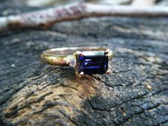 Solid Yellow Gold Blue Australian Iolite and Two Diamond on Side Engagement Ring , Elegant Birthstone Gemstones Wedding Jewelry Gift for Bridal or Bridemaid