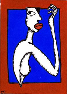 '04/23/16 Abstract Nude III' e9Art ACEO Original Art Female Surrealism Goddess #Abstract