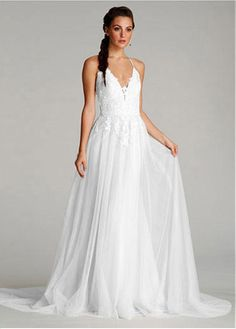 Alluring Tulle Halter Neckline Sheath Wedding Dresses with Lace Appliques