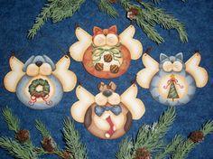 CC176 amigos peludos Anjo Ornamentos Pintura E Padrão