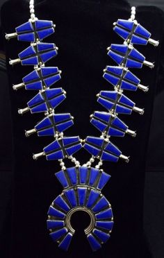 Jewelry Ideas : Navajo Silver and Lapis Lazuli Squash Blossom Necklace- signed O Moses Navajo Jewelry, Southwest Jewelry, Indian Jewelry, Southwestern Style, Ethnic Jewelry, Turquoise Jewelry, Silver Jewelry, Silver Rings, Bleu Indigo