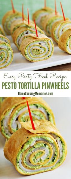 This Pesto Tortilla Pinwheels recipe is an easy party food that can be made no time! Perfect for any fun event - holiday parties, baby showers, and more!