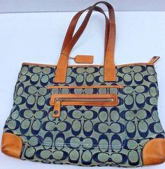 Coach Handbag Purse Brown Blue   Gray Leather Tote Authentic M1J 6082 SB001 5d1bf0601a8d1