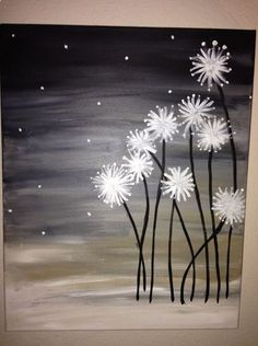 Dandelions. DIY Canvas Painting. So pretty! I've done this one! Super easy and turns out beautiful! #canvaspaintingart