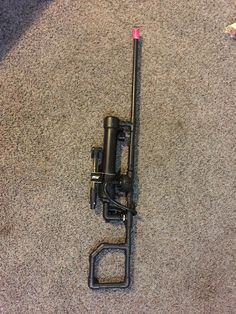 Homemade PVC pneumatic(air compressed) rifle with interchangeable barrels to shoot darts, paintballs, batteries, whatever fits in the barrel. Can be used as shotgun also