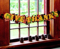Give Thanks, Thanksgiving Banner loaded with lots of cardstock leaves!  We have lots of Fall color cardstock at www.cardstockshop.com to make yours.
