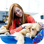 Kara, a Child Life Specialist at Children's Healthcare of Atlanta, works with Bella, a Canine Assistants facility dog, to help children cope with the stress and uncertainty of illness, hospitalization and potentially traumatic events.