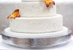 """$44 - 16"""" WEDDING CAKE RISER OR stand OR base round SILVER U SELECT SIZE DESIGN  #BEZ"""
