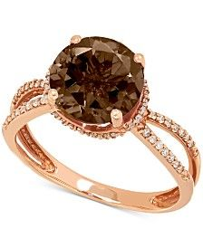 Smoky Quartz (2-1/2 ct. t.w.) and Diamond (1/6 ct. t.w.) Ring in 14k Rose Gold