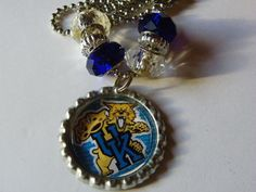 Kentucky Wild Cats Bottle Cap Necklace  625 by ritascraftsandmore on Etsy