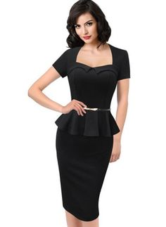 Cotton Polyester Short Sleeve Knee-Length Elegant Dresses