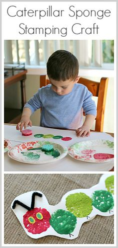 Great craft for toddlers! The Very Hungry Caterpillar Sponge Stamping Craft for Kids~ Buggy and Buddy