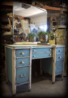 "1940's dresser & mirror. Old farmhouse style painted with Anne Sloan chalk paint ""provence"" and old white, heavy distressed and waxed."