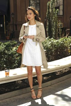 Jamie Chung in @Brent Hannah Republic white eyelet dress and a classic trench coat