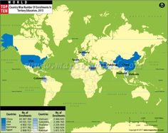 Buy world top ten longest rivers map pinterest top ten and rivers world top ten countries with university enrollment map gumiabroncs Image collections