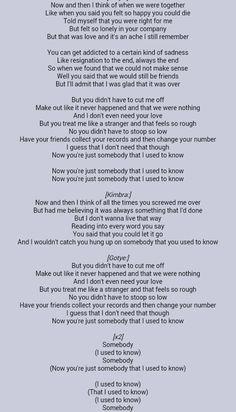 Lyrics to someone i used to know