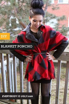 DIY Blanket Poncho // Pretty self-explanatory obviously, but I wanna make one