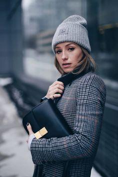 Winter street style in Acne studios beanie, Celine box bag