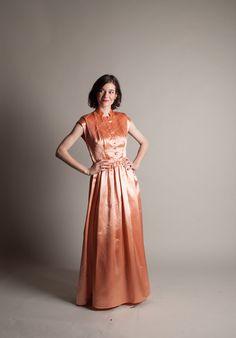 Vintage 1940s Evening Dress Satin 40s Dress by concettascloset