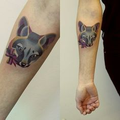 A beautiful gray fox: | The 26 Coolest Animal Tattoos From Russian Artist Sasha Unisex