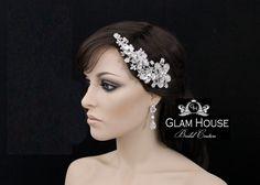 Bridal Hair Comb Swarovski Crystal Flower Headpiece by GlamHouse, $69.00