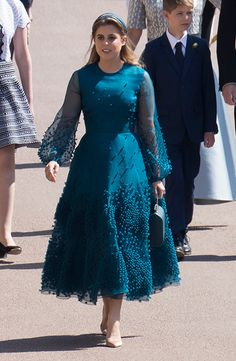 - Photo - Kate Middleton, Meghan Markle, Queen Letizia and Princess Eugenie are some of the stunning royal ladies in our Royal Style Watch end of year special. See photos of their most stylish outfits from 2018 here… Princesa Beatrice, Princesa Eugenie, Royal Dresses, Blue Dresses, Vintage Dresses, Unique Dresses, Meghan Markle, Eugenie Wedding, Marine Uniform